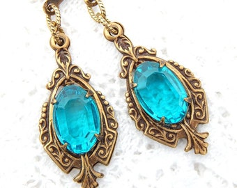 Blue Zircon Dangle Earrings- Vintage Jewels with Antiqued Brass- Morning Glory Designs