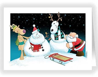 Funny Snowman Christmas Card - Funny 18 Cards & Envelopes - KX175