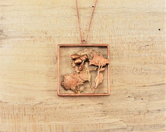 Electroformed Real Small Bee on Flowers Copper Necklace G24