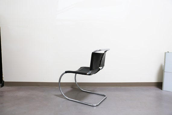 Sold *** Vintage Mies Van Der Rohe MR Side Chair - Black Leather