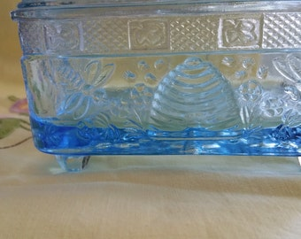 SALE Tiara Honey Candy Dish vintage blue glass