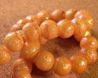 20 glitter - AB glass beads 10 mm - honey - PE113