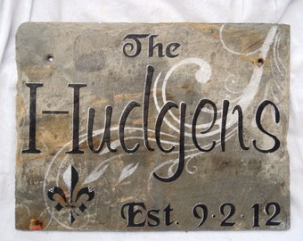 Personalized Slate Sign Recycled New Orleans Roofing Slate