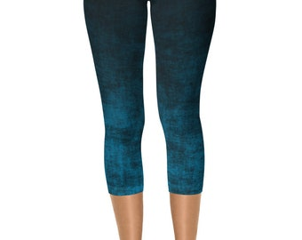READY TO SHIP - Blue Ombre Leggings in Size Large, Black and Blue Grunge Yoga Pants, Capris