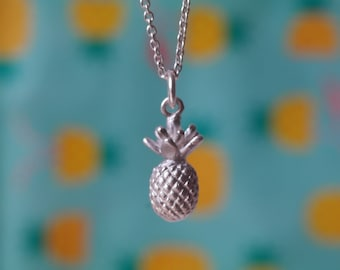 Pineapple necklace fruit necklace pineapple pendant silver pineapple charm tropical necklace dainty necklace minimal necklace - amejewels