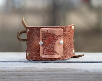 Minnesota Hair Accessories, Custom State Gift Ideas - Minnesota Nice - MN Gifts - Leather Hair Ties - Leather Ponytail Bun Makers - Bun Cuff
