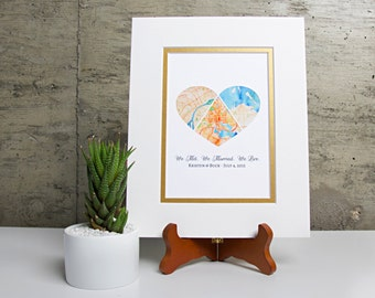 We met we married we live personalized map gift husband