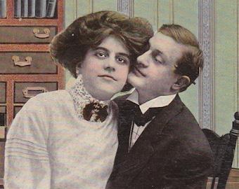 "Ca. 1909 ""Woman Sitting on Man's Lap Spooning"" Valentine Greetings Postcard - 439"