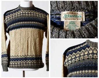 Vintage Men's Sweater - St. John's Bay Wool Blend 90s Retro Large Long Sleeve Fall Winter
