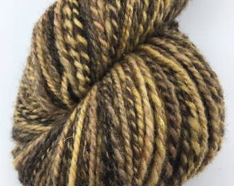 "Handspun Yarn Worsted BFL 184 yds. ""Buttered Rum"""