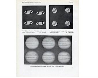 c. 1925 MARS JUPITER SATURN planets print - original vintage astronomy print - solar system print - milky way galaxy print