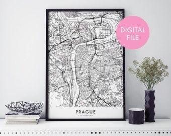 Prague, Czech Republic City Map Print Wall Art | Print At Home | Digital Download File