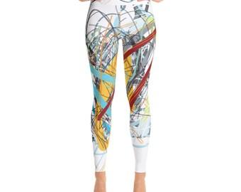 SGRIB Print Women's Fashion Yoga Leggings - xs-xl sizes - design number twelve - on white