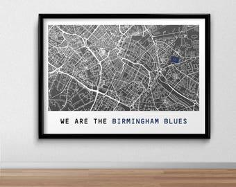 Birmingham Football Poster, Football Poster, Football Print, gift, Map Print,  Present