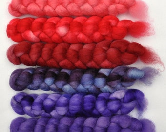 Hand dyed roving -  Blue Faced Leicester (BFL) wool spinning fiber - 6.0 ounces - Fire Alarm