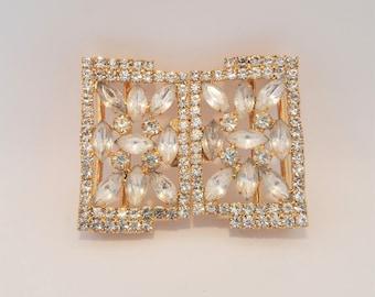 Vintage Two Piece Belt Buckle Rhinestones Prong-set Gold Wedding
