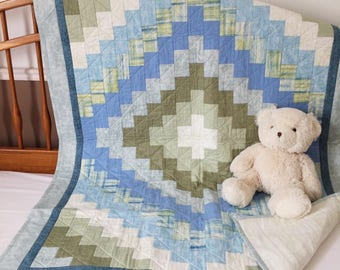 Baby Boy Crib Quilt - Blue and Green