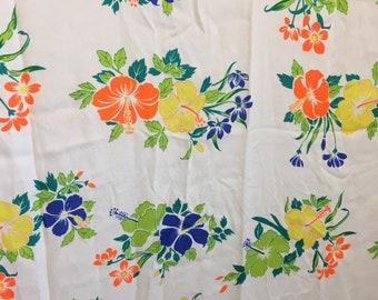 """Tissu vintage, 46"""" par 72"""", tissu hawaïen, tissu fleuri vintage"""