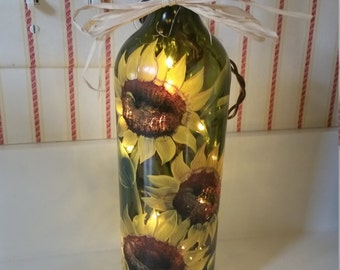 Sunflower Lighted Wine Bottle