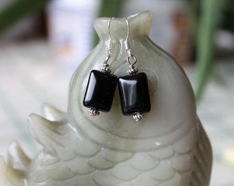 Black Rectangle Onyx Earrings, sterling silver hook