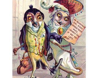 Valentines Day Card - Victorian Owls Pledge Their Love - Repro Valentine Vintage Style