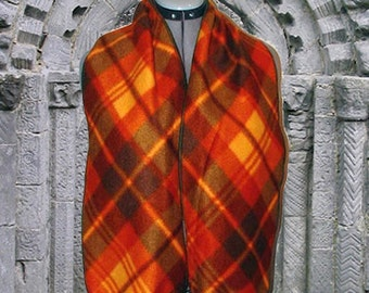 Autumn Argyle Fleece Scarf, Muffler, Bufanda, Fall's Fire