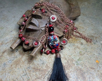 Fantasy necklace Bohemian/ethnic chic, ethnic bead Lampwork, onyx, Czech glass, chic necklace, large lampwork, tassel necklace
