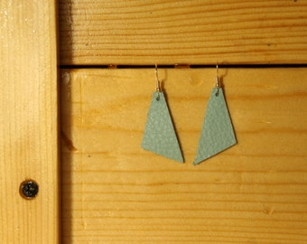 Turquoise Triangle Leather Earrings