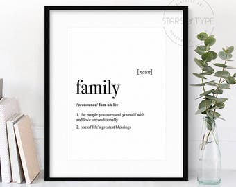 Family Dictionary Definition Meaning, Quote Art, PRINTABLE Wall Art, Family Quotes, Modern Black Type, Home Decor, Digital Print Design Jpeg