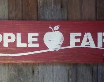 Rustic Apple Farm Wood Sign