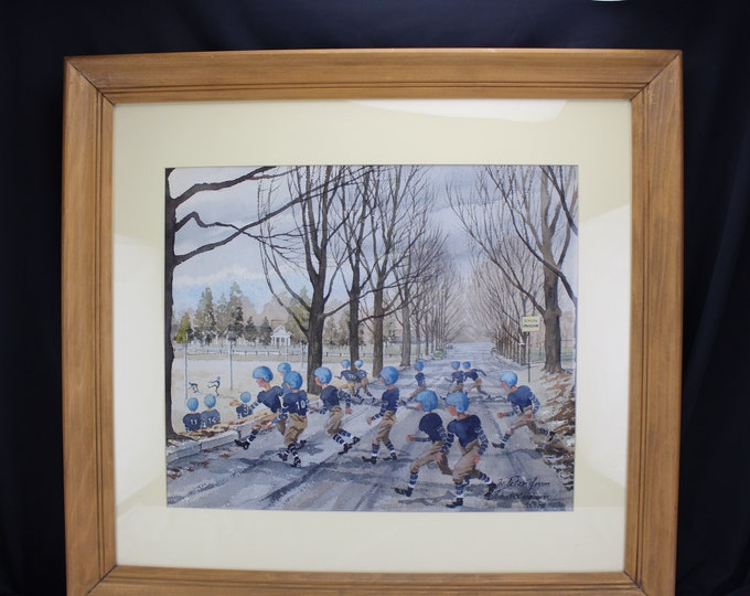 "Watercolor Painting ""School Crossing"" Foot Ball Players 1954 John W Claghorn (1924-2008) Medium"