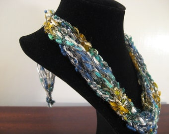 Blue, teal, yellow and white  Trellis Necklace / Crochet Necklace Item No. N1