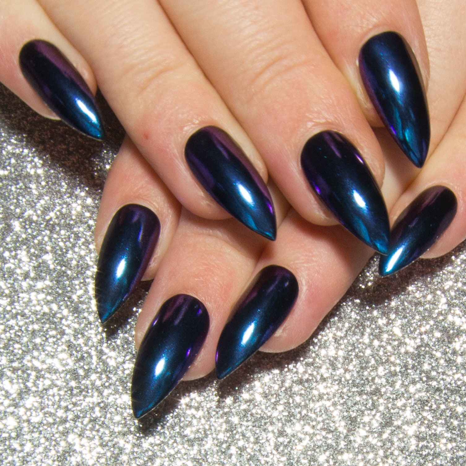 Blue Chrome Fake Nails - Stiletto Mirror Nails - Chameleon Press On ...