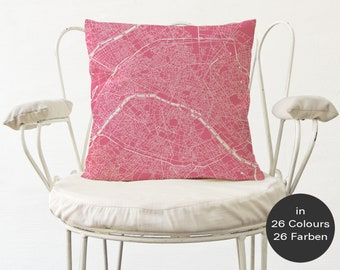 PARIS Map, Throw pillow for your home decor, Map of PARIS Cushion Cover, Custom Wedding Pillow Cover, anniversary gift