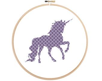 Fun patterned unicorn cross stitch