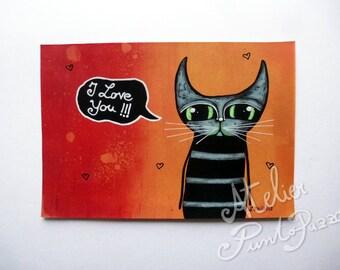 I love you cat art, 8.93 x  6.10 inches