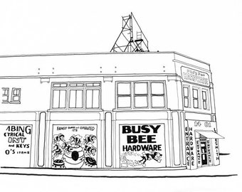 Busy Bee Hardware Store, Detroit Giclee Print 8x10