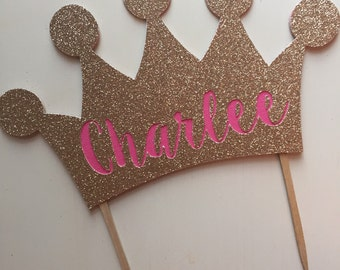 Personalized Princess Gold Glitter Crown Cake Topper