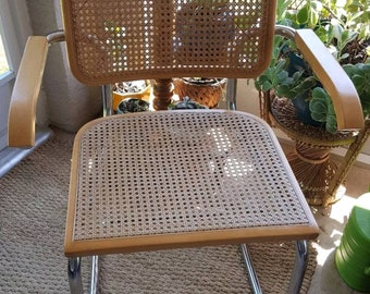 Marcel Breuer Cesca / Knoll Style Mid Century Wicker Cane & Chrome Arm Chairs