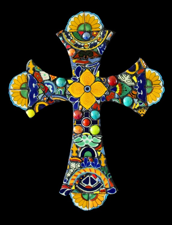 Mosaic Wall Cross Made with Mexican Talavera Tiles