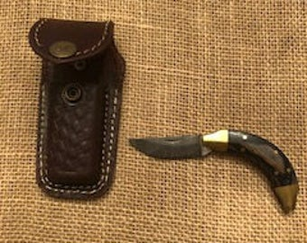 Custom Small  Damascus Pocket Knife with Leather Carry Case