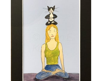 Yoga with Cats - Yoga Class PRINT - Tuxedo Cat Art Print in 5x7 Black Mat - Gift for Cat Lover - Animal Decor - Yogi Gift - Funny Cat Art