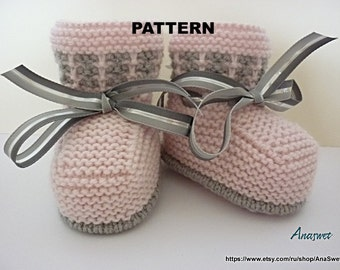 Knitted baby pattern PDF,baby booties/baby shoe/ knitted baby shoes in pink.P032