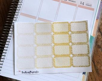 Glitter Half Boxes: Gold (Planner Stickers for Erin Condren Life Planner - vertical)