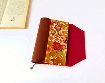 Protects-pocketbook adjustable fabric with bookmark (Japanese cherry/moutarde_marron_rouge patterned fabric)