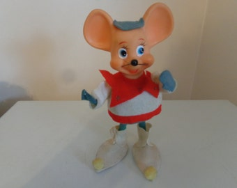Vintage 1960's Bendable Felt Christmas Mouse, Straw Filled - Vintage Plastic Christmas Mouse - Felt Christmas Mouse - 1960's Xmas Mouse
