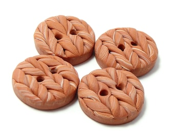 Polymer Clay Buttons medium knitted satin wheat color set of four