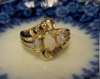 Size 7 Estate 10k Yellow Gold Natural 1ct Opal .10ct Tanzanite Filigree Ring Band GS1484