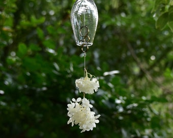 Wind Bell with Flowers, Wind Chime, Furin, Hanging Bell, Brass Chime / Torimoto Glass Studio