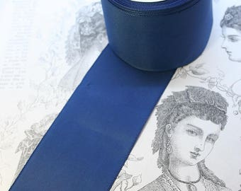 Vintage Taffeta Ribbon in Dark Blue for embellishing your clothing and hats!